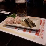 ひびき庵 - ポテサラ明太和えとしゃくし菜、しゃくし菜が超絶旨し‼️