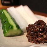 焼き鳥 とりら - スティックサラダ鶏そぼろ味噌