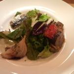タヴェルナ カッパ - 前菜(カポナータ、新玉ねぎのオーブン焼き、イワシのオレガノ焼き、葉野菜たち)