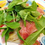 地中海食堂 タベタリーノ - 【2012-03-24】パスタ:生ハムと菜花・プチトマトのスパゲティ(アップ)