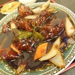 中華料理 龍縁 - 黒酢酢豚定食+炒飯変更(黒酢酢豚)