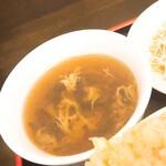 中華料理 龍縁 - 黒酢酢豚定食+炒飯変更(スープ)