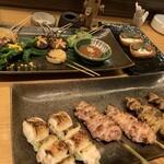 123965157 - 焼き鳥(ネギマ・せせり・皮)と季節野菜焼き盛り