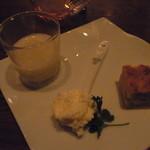 12397781 - 前菜盛合せ 大根・生姜・魚介のスープ レアチーズ ケークサクレ