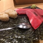 鮨 酒 肴 杉玉 - 天然マグロの中落ち手巻き寿司