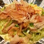 カフェ ソラーレ Tsumugi - 【サーモンと舞茸のお出汁香るカルボナーラ¥1200(税抜)】 麺は2種類(スパゲティor京抹茶の生パスタ)から選べました 具の舞茸に加え、和風のおだしが利いてて美味しかったです♪