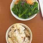 12399339 - 筍ごはんと生野菜サラダ