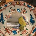 124009607 - お造り:サヨリ、ひらめ、雲丹 ひらめのプリプリ感がいい。塩、醤油など好みでいただきます。雲丹が甘い。