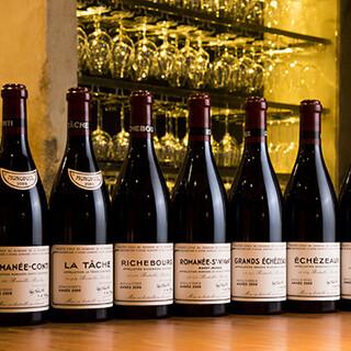 ソムリエ在籍。ブルゴーニュワインを中心に約400種をご用意。