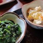 白菊 - ほうれん草の白和えと野菜の煮物