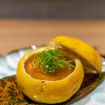 座屋 - 柚子釜 北海道アンキモ 地物つくね芋薯蕷蒸し 鼈甲餡