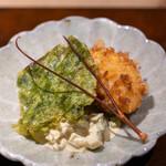 座屋 - 地物伊勢海老の海老フライ 四万十あおさ 菊芋入り自家製タルタルソース