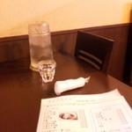 ホルモン焼き らーめん いなまる - 店内奥の二人がけテーブルに着座