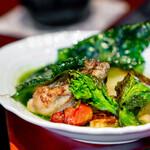 京 上賀茂 御料理秋山 - 帆立、葱のスープ