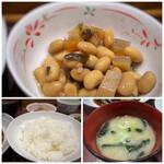 味の正福 - ◆小鉢は「五目豆」・・普通。 ◆ご飯はツヤがあり美味しく、量を選べるようです。