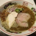 僕家のらーめん おえかき hanare - 料理写真:濃出汁背脂煮干しと豚鬼飯(背脂飯)セットです☆ 2020-0123訪問