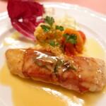 ピッツェリア・サバティーニ - 真鯛のサルティンポッカ白ワインとセージのソース