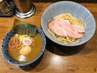 俺の麺 春道 - 醤油味玉海老つけ麺(980円)