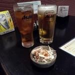 銀たつ - 料理写真:ビール&烏龍茶&突出し