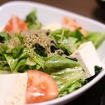 おいしい山形のお店 神田鳥海 - 豆腐と雑魚のサラダ