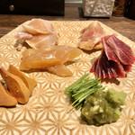 地鶏割烹 稲垣 - 鶏刺し盛り合わせ