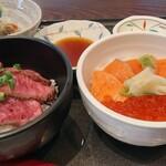 124222490 - 村上牛炙り丼、鮭親子丼セット 1800円(別)