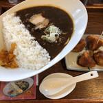 麺家 西陣 - ダムカレーラーメン+いもフライ