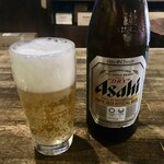 立呑処 でかんしょ - 「瓶ビール」450円也。たしか中瓶だったとおもー。
