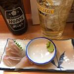 晩杯屋 - 黒鯛刺し250円