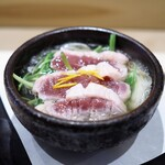 しんせん 割烹 佐乃家 - 煮物替わり 鴨の小鍋仕立て セリ ネギ 豆腐