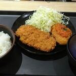 松乃家 - 料理写真:ロースかつ&カニクリームコロッケ定食750円税込み