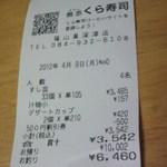 無添くら寿司 - レシート(2012.04.09)