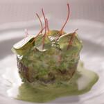 Restaurant MAEKAWA - ハマグリと茄子の煮込み 春菊のソース
