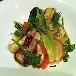 12438058 - 貝柱と白身魚と有機野菜
