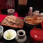 江戸切庵 - そばとミニエビ天丼の定食1280円
