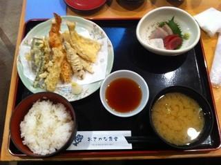 おさかな食堂 - 天ぷら盛り合わせ定食+平日限定の小刺身