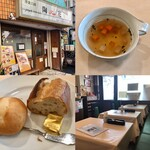洋食工房 陶花 - ランチはスープがついてきます。オムライスはサラダも付いてきます。