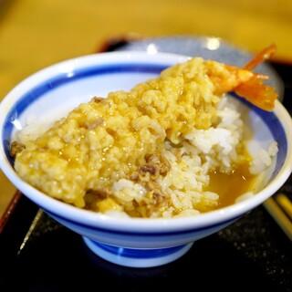 日の出うどん - 料理写真:美味過ぎる、「ご飯にえび天+残った汁」
