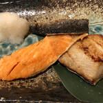124471609 - ホッケ、にしん、鮭の3点焼き