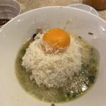 鶏ポタ ラーメン THANK - チーズリゾット(かき混ぜ前)
