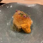 124507683 - 閖上赤貝と子持ち昆布を黄身酢とジュレで