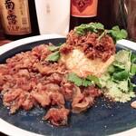 ワイン食堂 イタダキヤ - 魯肉飯とカレー合いがけ 新メニュー登場       パクチーがエスニック風でとてもいい♪♪