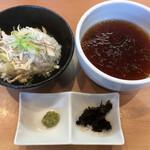 らぁ麺 はやし田 - 鶏茶漬けセット(200円)とつけ麺のつけダレ
