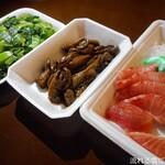 道の駅 錦江にしきの里 - 料理写真:秋太郎カジキ刺身&うなぎ肝&高菜漬