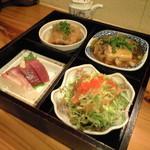 12456210 - 左上から時計回りに、揚げだし豆腐・鯵の野菜あんかけ・サラダ・刺身盛り合わせ