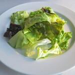 トレインレストラン日本食堂 - レタスのみの超シンプルサラダ!まろやかなイタリアンドレッシングがかかってるのみ!