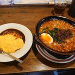 Adumaya - 赤の担々麺とオムライス(小)のセット 650円+250円