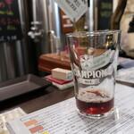 浅草ビール工房 - 黒ビール試飲させてもらいました。このグラスも見納めか~。