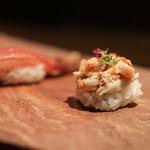 かわ村 - 料理写真:2020年1月再訪:ドウマン蟹の握りゾット&ズワイ蟹の握りゾット☆