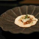 kawamura - 2020年1月再訪:帆立貝の煎餅 焼き蟹と海苔のソース☆